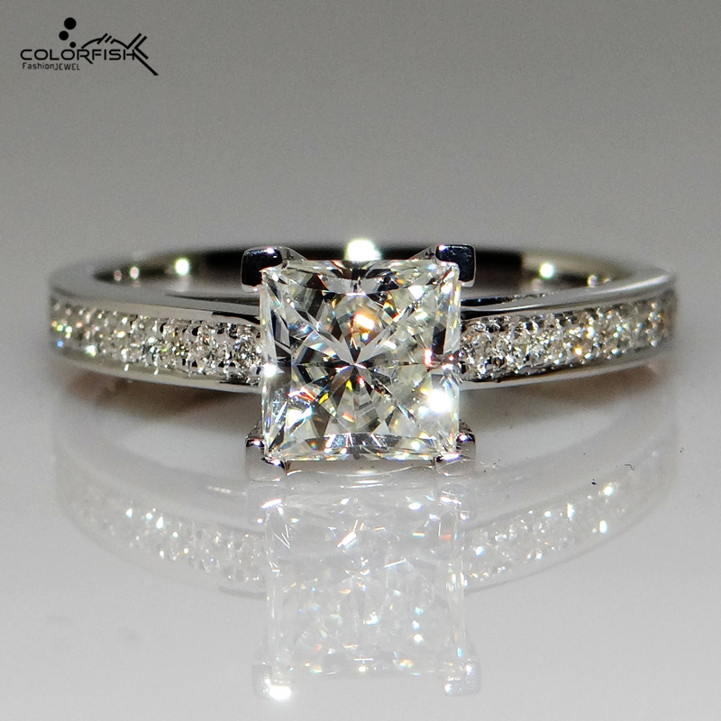d94e333d73aa33 COLORFISH 0.7 Ct Princess Cut Solitaire Engagement Rings Women High Quality  Square Stone Cubic Zirconia 925