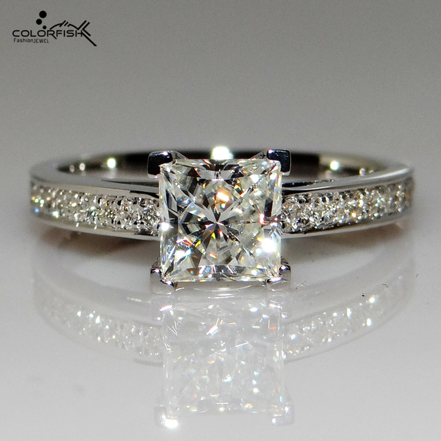 COLORFISH 07 Ct Princess Cut Solitaire Engagement Rings Women High