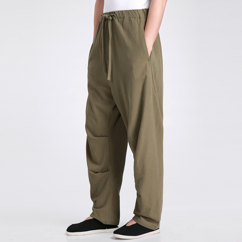 New Arrival Green Chinese Mens Kung Fu Trousers Cotton Linen Pants Wu Shu Clothing Size S M L XL XXL XXXL 2607