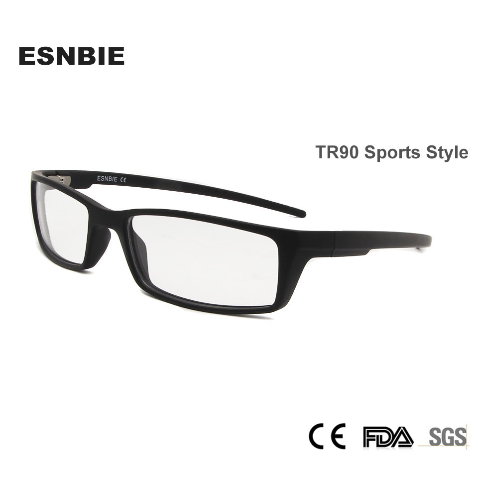 ESNBIE Designer Men Eyeglass Frame Eyewear Clear Lens TR90 Eyeglasses Slim Light Weight Matte Black Spectacle Frame <font><b>10233</b></font> image