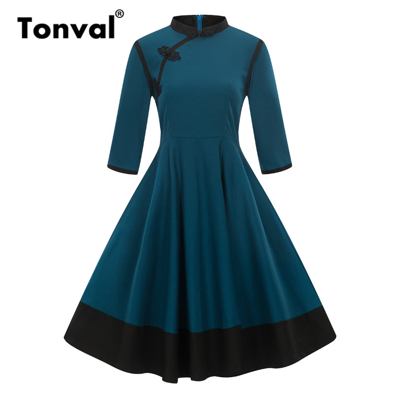 Tonval Cinese Frog Chiusura Chic Dress Vintage 2/3 Delle Donne Del Manicotto Midi Inverno Vestito Blu Elegante Autunno Abiti