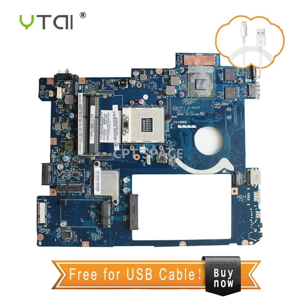 YTAI LA-6882P Pour Lenovo Y570 Mère d'ordinateur portable PIQY1 LA-6882P Rev: 2.0 avec GeForce GT555M carte graphique Carte Mère 100% testé