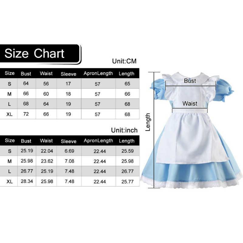 Платье для косплея для детей девочек Алиса в стране чудес Юбка для девочек нарядное горничная Лолита Аниме, нарядный комплект для зала для хеллоуина и карнавала