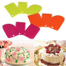Useful 3Pcs Plastic Dough Icing Fondant Scraper Cake Decorating Baking Pastry Tools Plain Smooth Jagged Edge Spatula Cutters New jagged edge jagged edge baby makin project