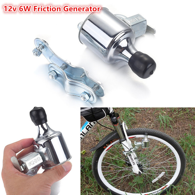NEW 1Pcs 12V 6W Bicycle Motorized Friction Generator Dynamo LED Light Head Tail Rear Light Kit