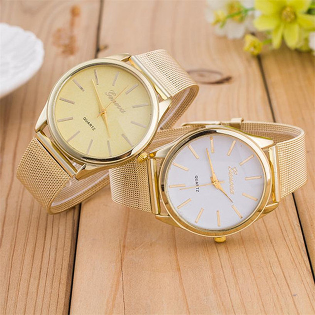 Gold Mesh Stainless Steel Watches Women GENEVA Brand Luxury Casual Clock Ladies Women Wrist Watch Relogio Feminino #D