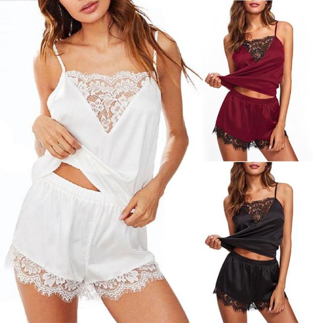 women lady Pajamas Spaghetti Strap Deep V spaghetti strap sexy Summer Nightdress Top+Pant night sleep wear comfortable