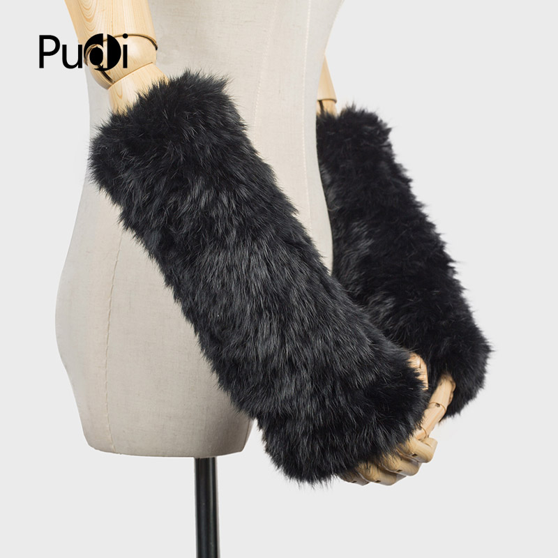 Pudi Gf705 Hand Made Knitted Winter Fur Fabric Real Rabbit Fur Glove Gloves Mittens Mit Handwear Men's Gloves