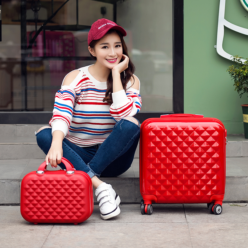 High quality 18inches bride red abs trolley luggage,married box on universal wheels,fashion style light green pink case drag box 1pc white or green polishing paste wax polishing compounds for high lustre finishing on steels hard metals durale quality