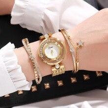 Новинка 2018 года; Модное Элегантное Для женщин Часы Blingbling браслет 3 шт. комплект роскошный золотой Сталь дамы Кварцевые Наручные часы Подарки