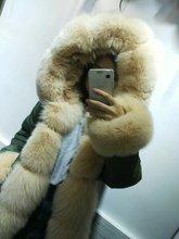Comfortable warm beige fox fur jacket winter coats women MR long real fur parka S-4XL outwear free shipping