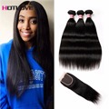 Brazilian Straight Hair With Closure 8A 3 pcs/lot Brazilian Virgin Hair Weave Bundles With Closure Ali Moda Hair With Closure