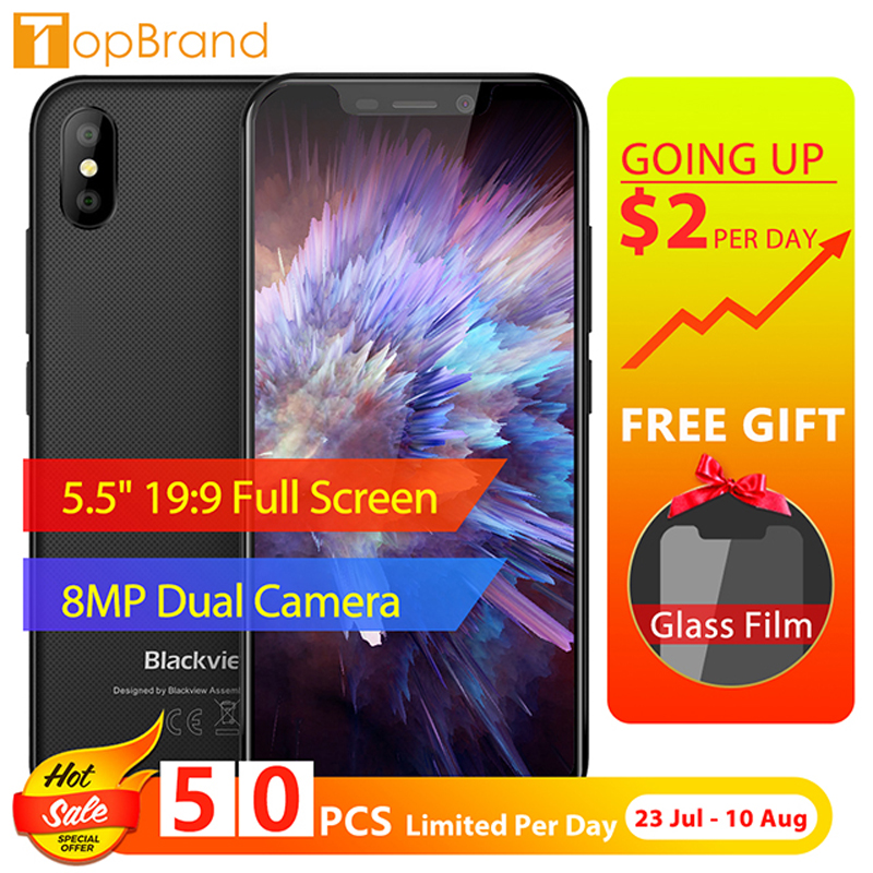 "BLACKVIEW A30 Phone 2GB RAM 16GB ROM Smartphone 5.5"" 19:9 Display Full Screen MT6580A Quad Core 8MP Android 8.1 3G Mobile Phone"