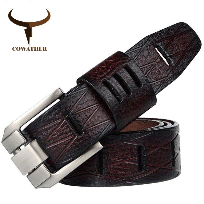 Cowather 2017 buena calidad de cuero de vaca genuino de lujo de los hombres cinturones para los hombres de la correa masculina hebilla GRANDE TAMAÑO 100-130 cm libre gratis