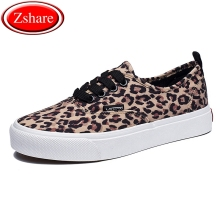 Fashion Sneakers Leopard Women Shoes 2019 Autumn New Lace-Up Women Casual Canvas Shoes Woman Flats High Quality zapatos de mujer moxxy leopard shoes woman print flats casual shoes woman lace up golden canvas shoes autumn trainers high top sneakers women