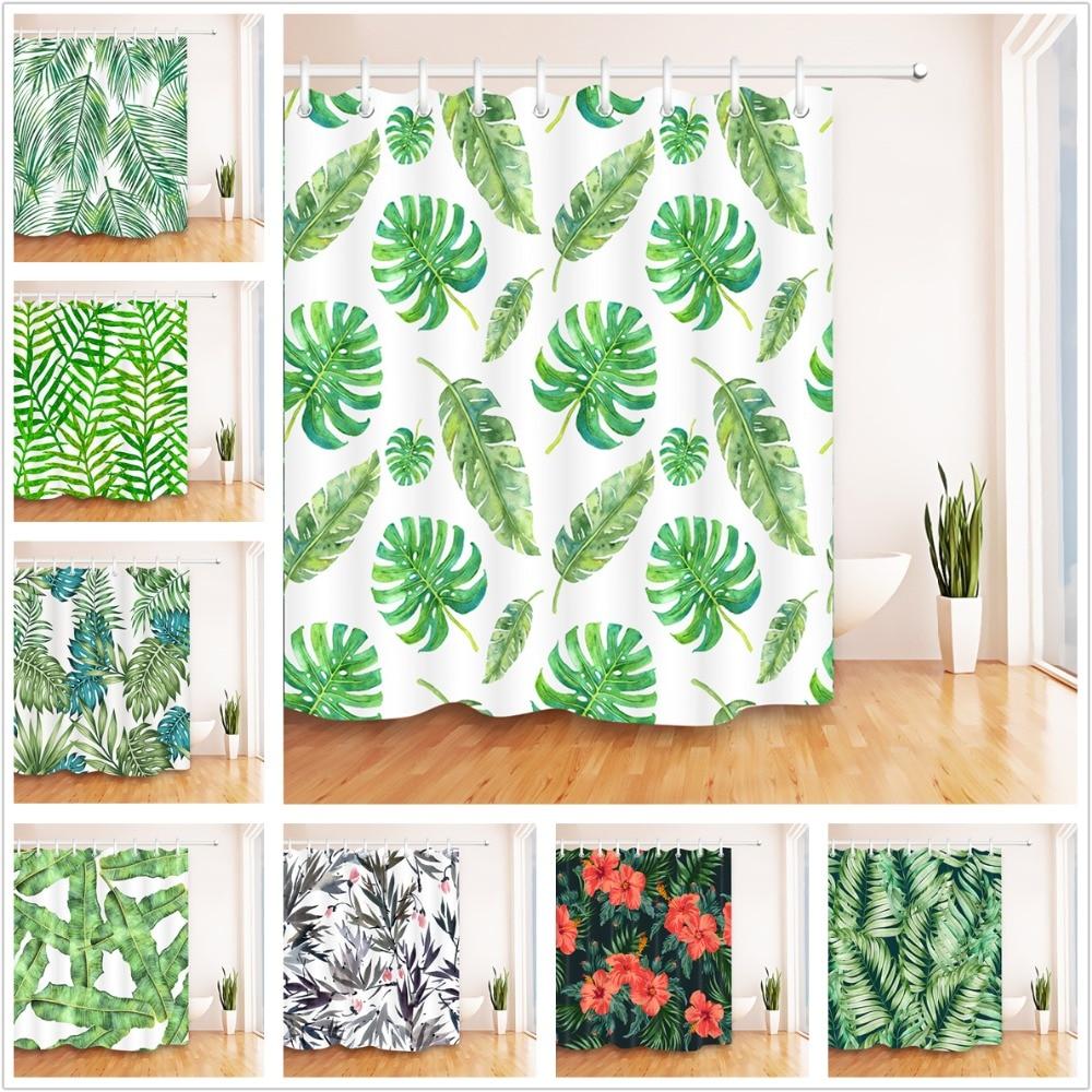 Tropical Rainforest Green Plant Waterproof Bathroom Shower Curtain Rugs Fabric