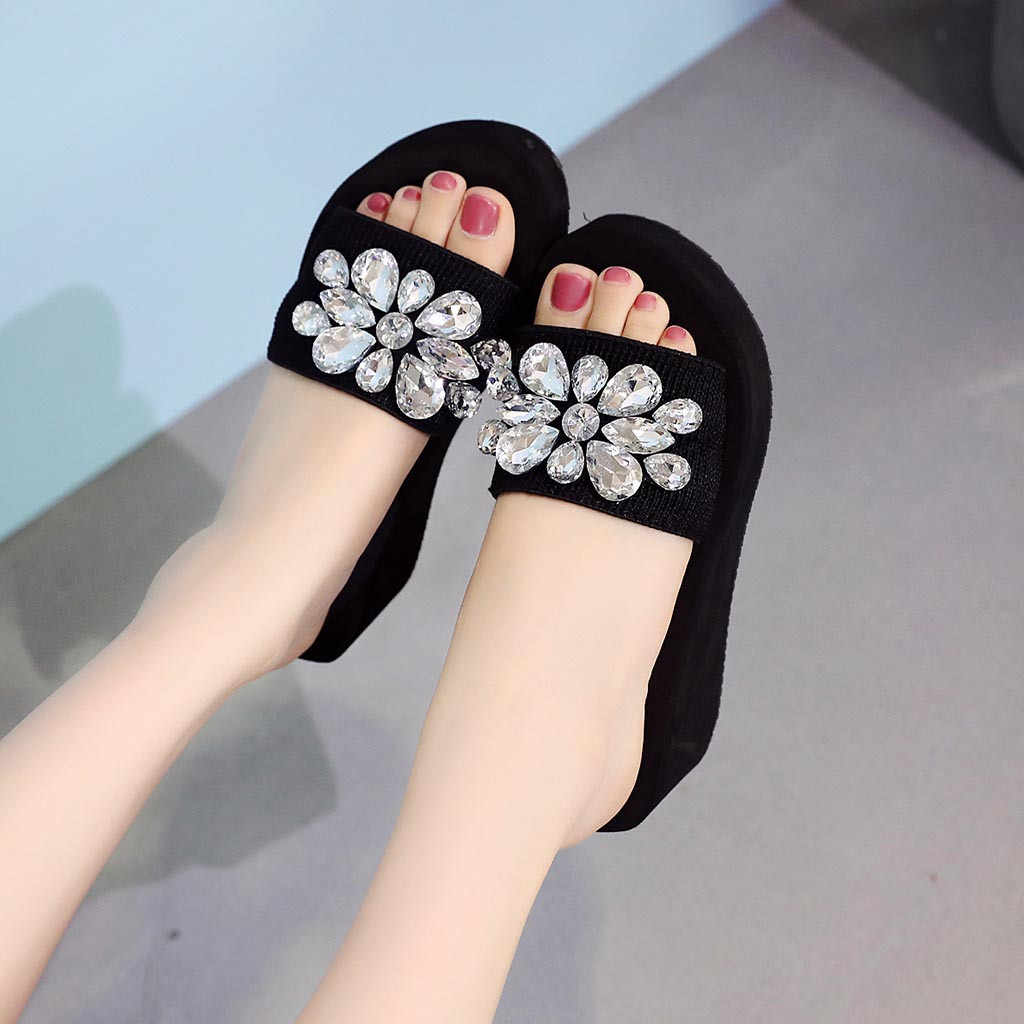 b11179431273a ... 2019 Women's Slippers Summer Beach Casual Shoes Girls Crystal Wedges  Slipper Fashion Loafers Platform mujer slides ...