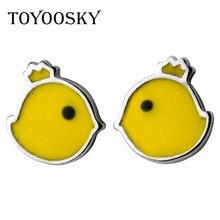 TOYOOSKY Yellow Chick Stud Earrings Cute Lucky Zodiac Chicken Earring 925 Sterling Silver Women Fashion Accesories
