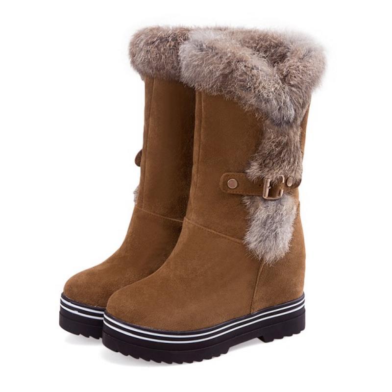 3e261f446f3 Zapatos Negro 43 Plataforma Piel Media Nieve Corta rojo Mujer Mujeres  Gruesa amarillo 33 Nightcherry Frío ...
