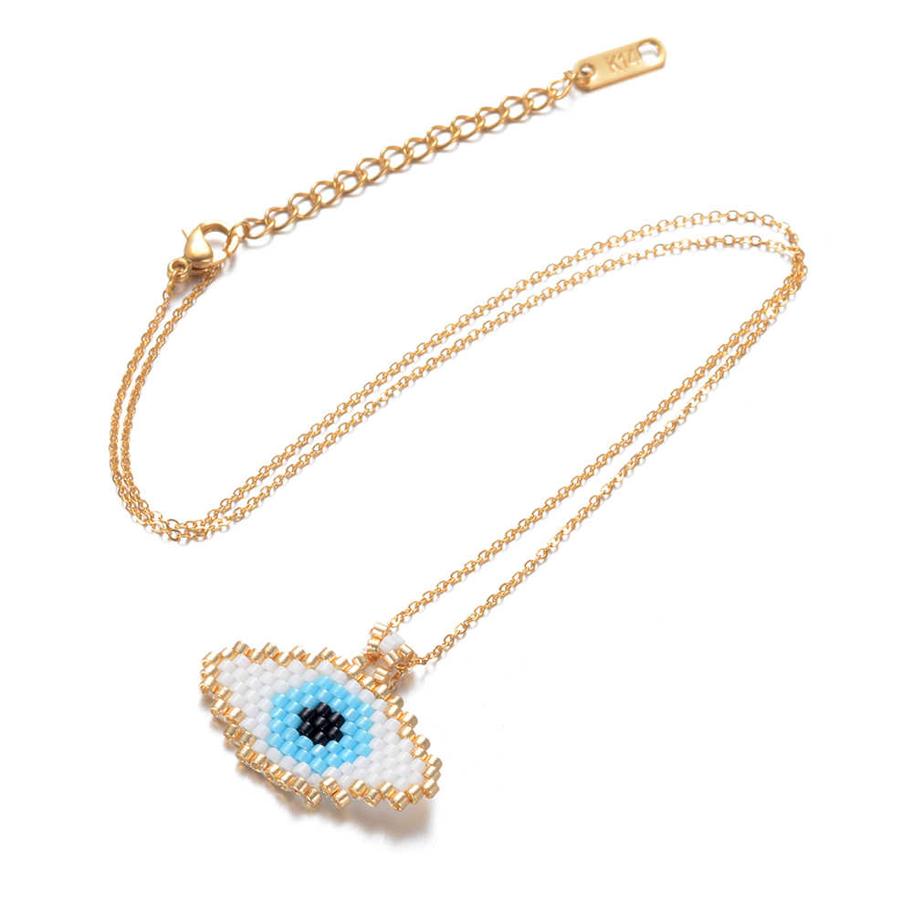 Collar Go2boho de ojo malvado, collares con cadena de oro MIYUKI, semilla de Delica, trabajo de cuentas, joyería de Fátima para mujer, regalo hecho a mano