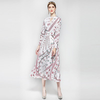 Europe Station 2017 Early Autumn New Pattern Full Sleeve Printing Round Neck Hollow Out Mid Calf