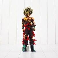 34 CM Anime Dragon Ball Z Super Saiyan Son Goku Battle Damaged Action Figure Toy Modello Doll Free Shopping