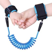 Blue PU&Stainless Steel Contraction Toddler Safety Harness Child Safty Wrist Link Anti-lost Child Belt Adjustable