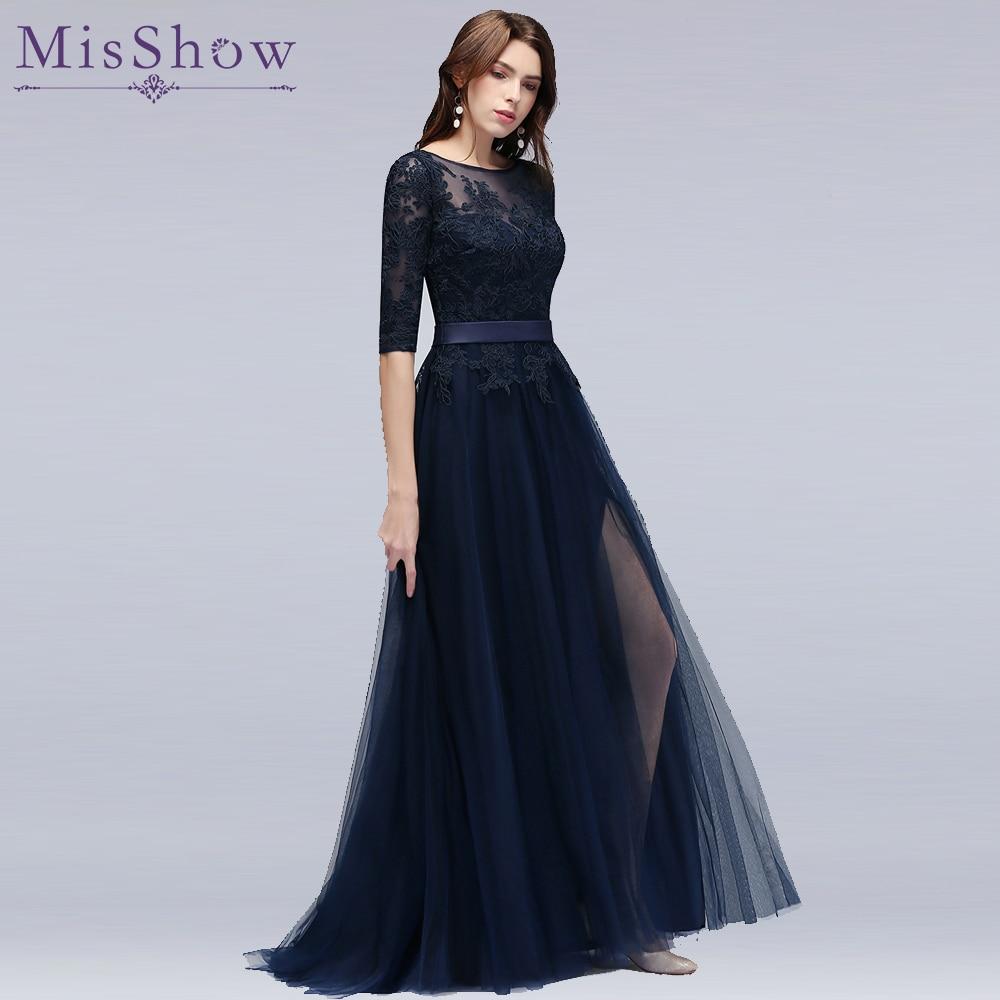 vestidos de baile in Stock Navy Blue A-line   Prom     dresses   vestido de noite elegant cheap long appliques   prom     dress   with Sleeve