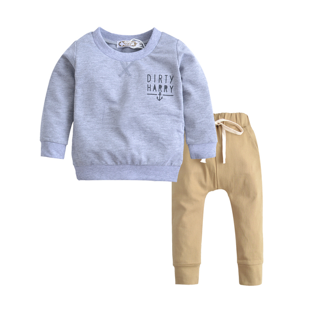 48226b69ca2 Baby boys clothes Kids Long Sleeve Cotton Grey Sweater+Khaki Trousers 2PCS  Trend Children Clothing Set fashion Baby Boy s set-in Clothing Sets from  Mother ...