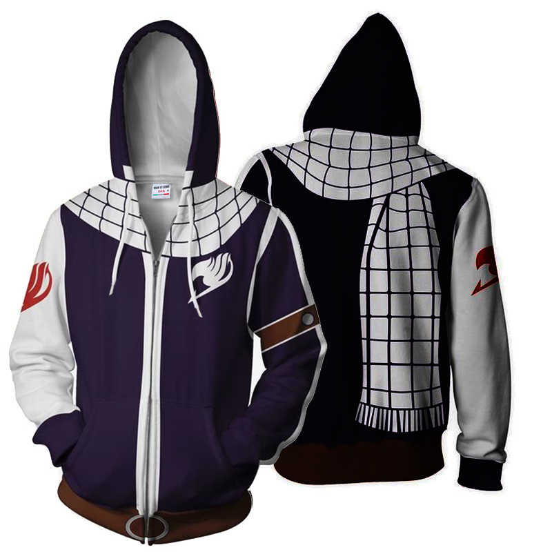 BIANYILONG 2019 Autunno Inverno 3D Stampato Fairy Tail Felpe Natsu Cosplay Zip Up HoodieJacket abbigliamento