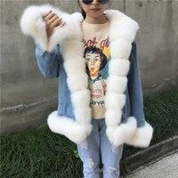 Женское джинсовое пальто Зимняя джинсовая куртка Girle 2018 Новое модное женское пальто с натуральным лисьим меховым воротником пальто толстая