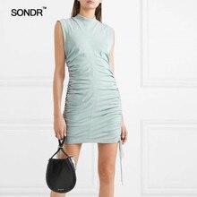 SONDR Summer 2019 new fashion slimming slim sleeveless pleated dress sundress long T-shirt