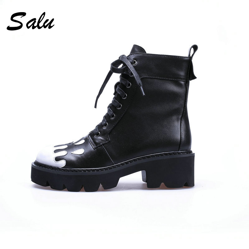 Salu 2018 Ankle Boots Handmade Women Shoes Genuine Leather Ladies Botas Round Toe Lace-Up Shoes Short Plush Warm Winter Boots