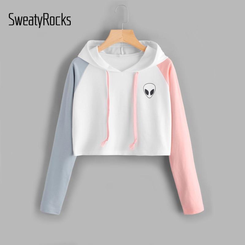 SweatyRocks Alien Print Contrast Sleeve Graphic Hoodie Women Patchwork Long Sleeve Crop Top Active Pullovers Casual Sweatshirt serveware