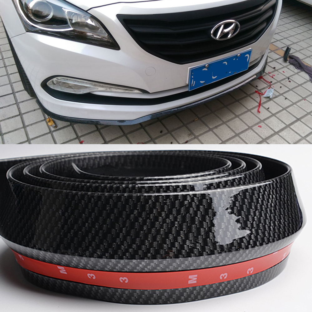 Front bumper rubber protector quick lip splitter skirt body spoiler multi deflector fake carbon fiber for toyota corolla