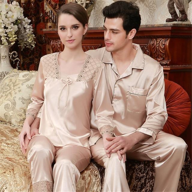 Sleepwear pijama de seda Loungewear amante pijamas nova marca casal conjuntos de pijama de cetim de seda moda início vestuário casais pijamas