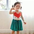 Retail 2016 New Sweet Toddler Baby Girls Fox Cartoon Dress Sundress Halter Blue Cue Baby Cothing