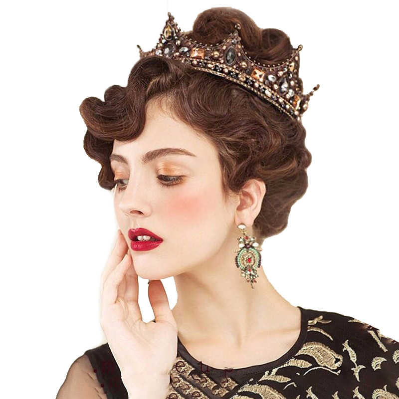 Spring Wedding Tiara Baroque Crown Vintage Bridal Hair Accessories Jewelry Beauty Royal Round Styling