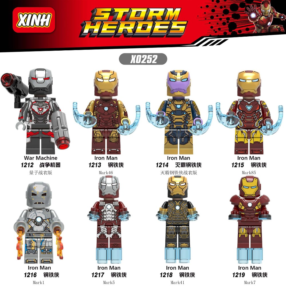 80PCS X0252 Marvel Avengers 4 Endgame Super Heor Iron Man War Machine Thanos Building Blocks Toys