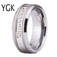 YGK Brand Jewelry Hot Sales 8MM Silver Beveled With Matte Surface and 7 White CZ Stones Tungsten Ring For Wedding
