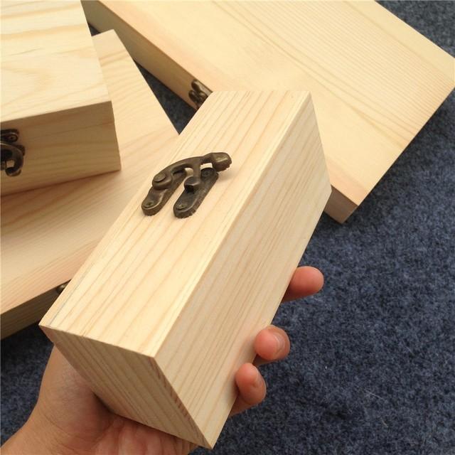 New Arrival Zakka Paulownia Wood Small Wooden Box With Lid And Lock  Jewerally Storage Box Wedding
