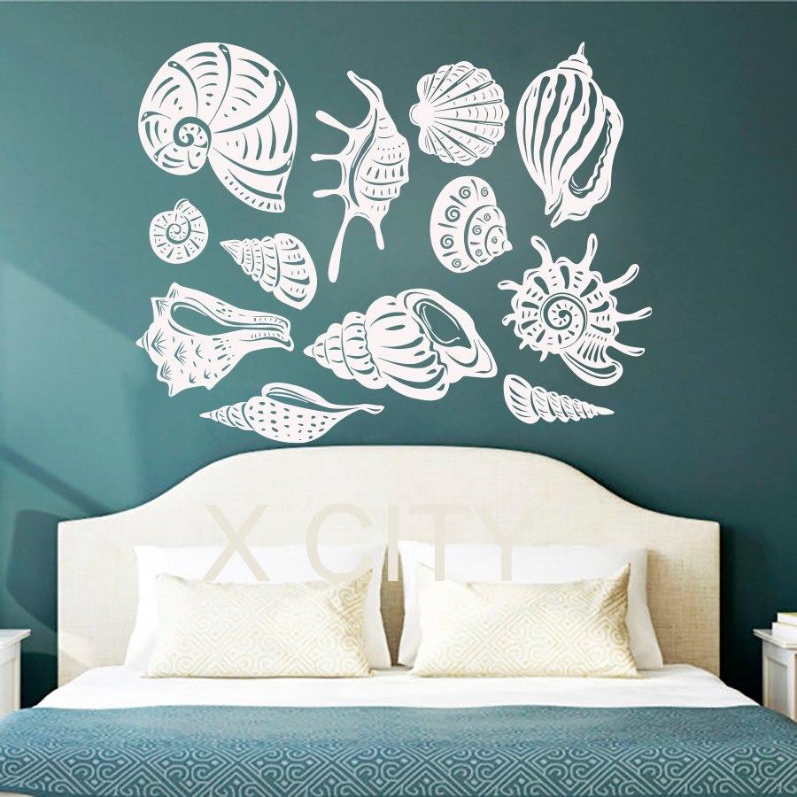 Bathroom wall art sea - Aliexpress Com Buy Adorable Sea Shell Ocean Wall Art Sticker Vinyl Cut Transfer Decal Home Nursery Bathroom Decor Stencil Mural From Reliable Bathroom
