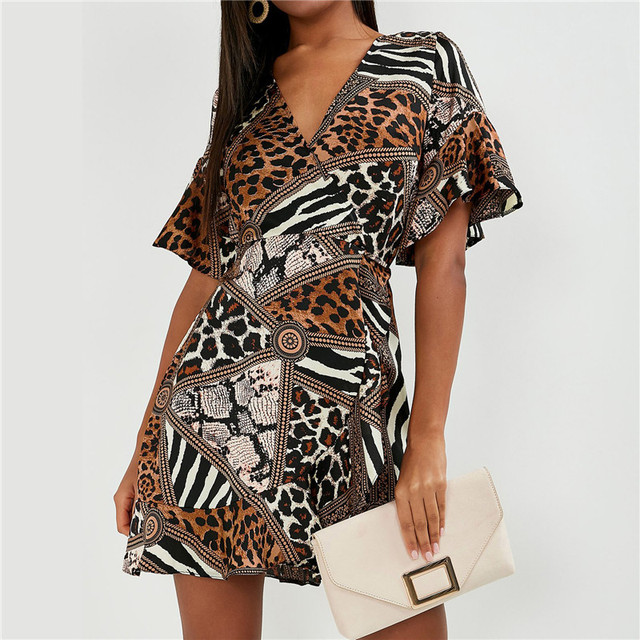 Summer Chiffon Dress Women Sexy V Neck Party Mini Dress Print Butterfly Short Sleeve Streetwear Sundress Fashion Robe Femme XL