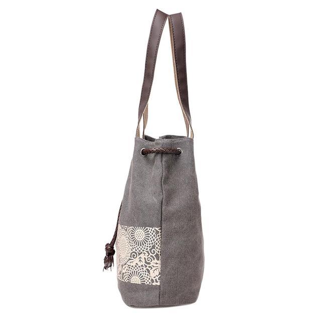 Casual Women Large Capacity Tote Canvas Shoulder Bag Female Lace Print Shopping Bag Beach Handbags 1