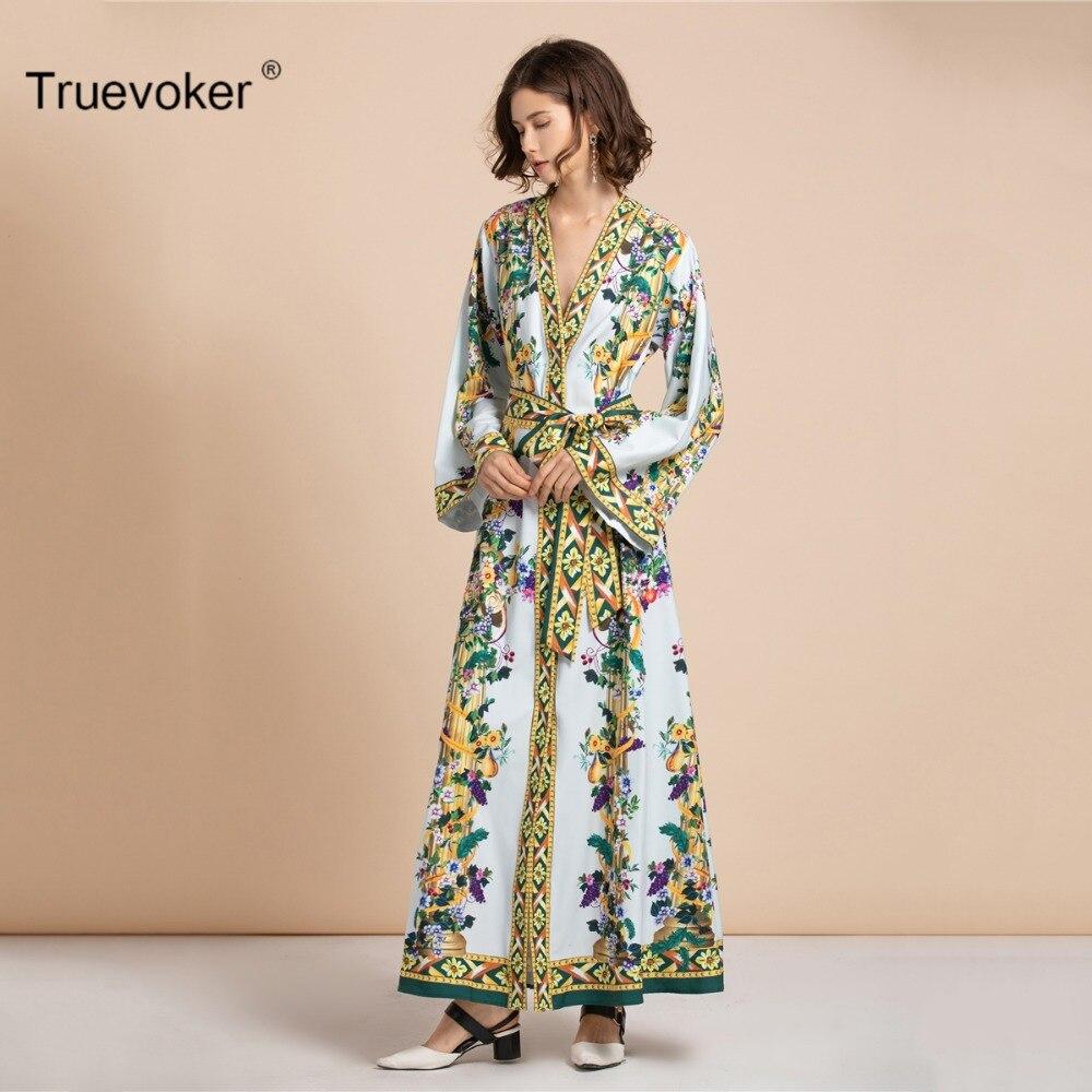 Sexy Designer À Longue Maxi Ete Truevoker cou 3xl Longues Imprimé Floral V Taille Automne Attaché Femme Manches La Robe Plus Dames TK1J3lcF