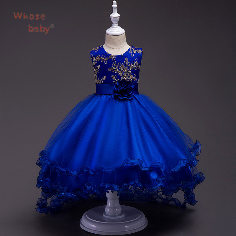 Wedding Girls Dresses Ball Gown Floral Princess Dresses For Girls vestido Fashion Party Children Clothing Kid Show Trailer Dress