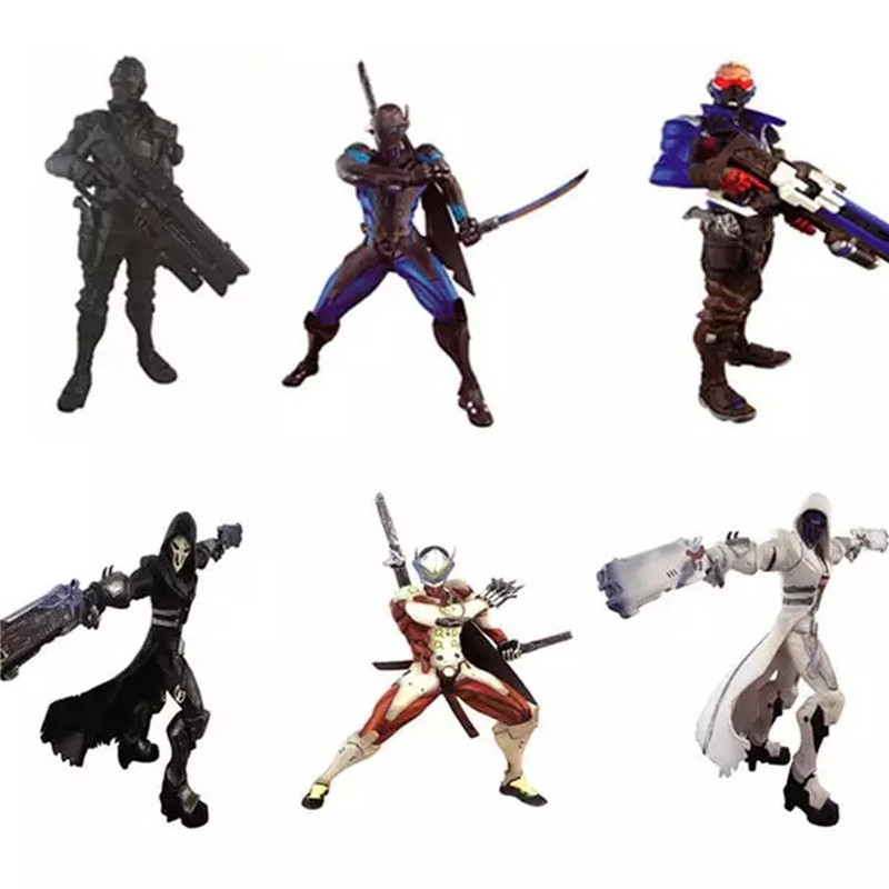 1pc/lot Christmas Toy Gift New Shooting Games Over Watch Action Figure Collection OW Reaper GENJI Soldier 76 Model Decorations saintgi ow tracer widowmaker reaper winston soldier 76 action figure model kids toys gifts collection tracer pvc 25cm game genji