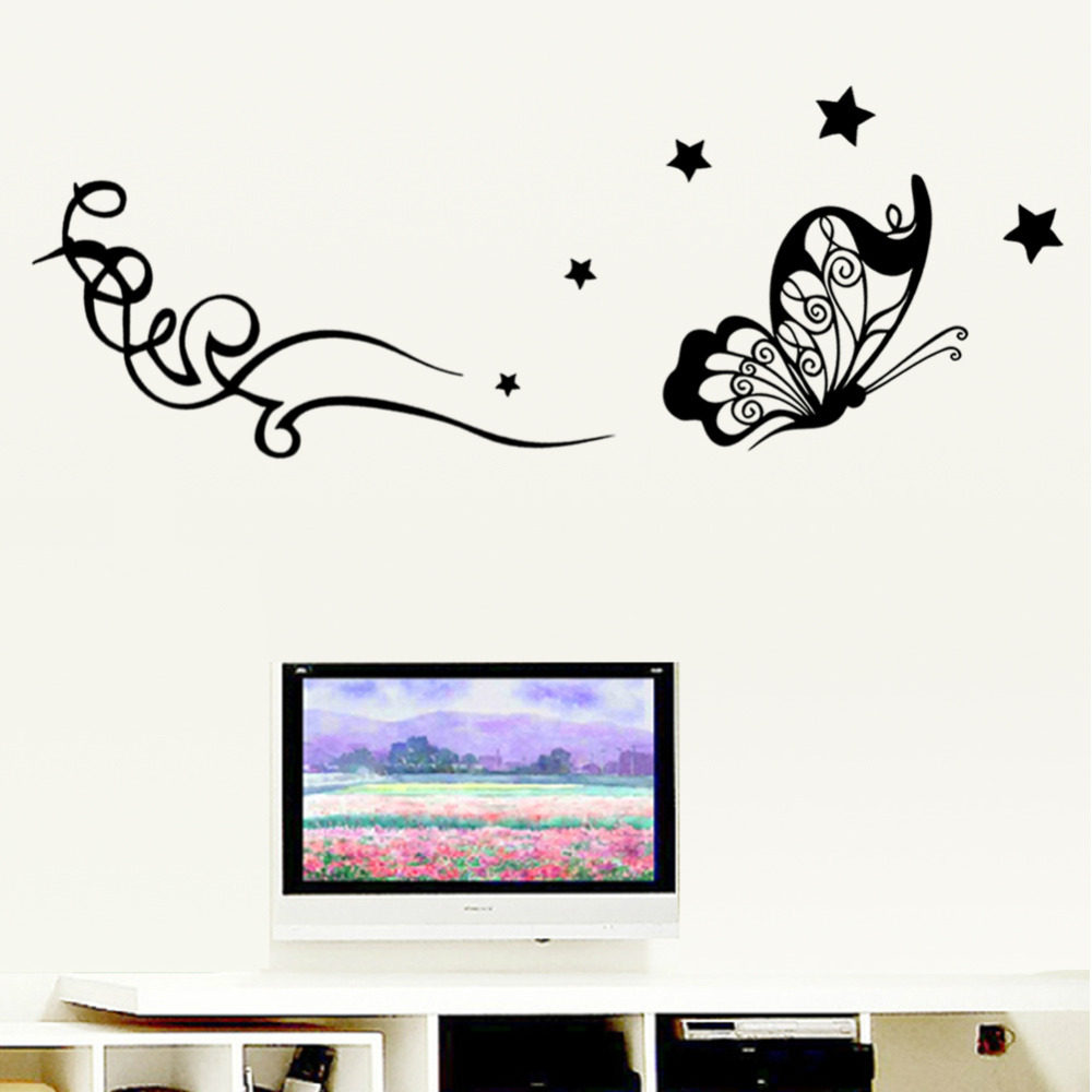 Classical Butterly Stars flower home decal wall sticker wedding new house living room decoration gift removable Diy art