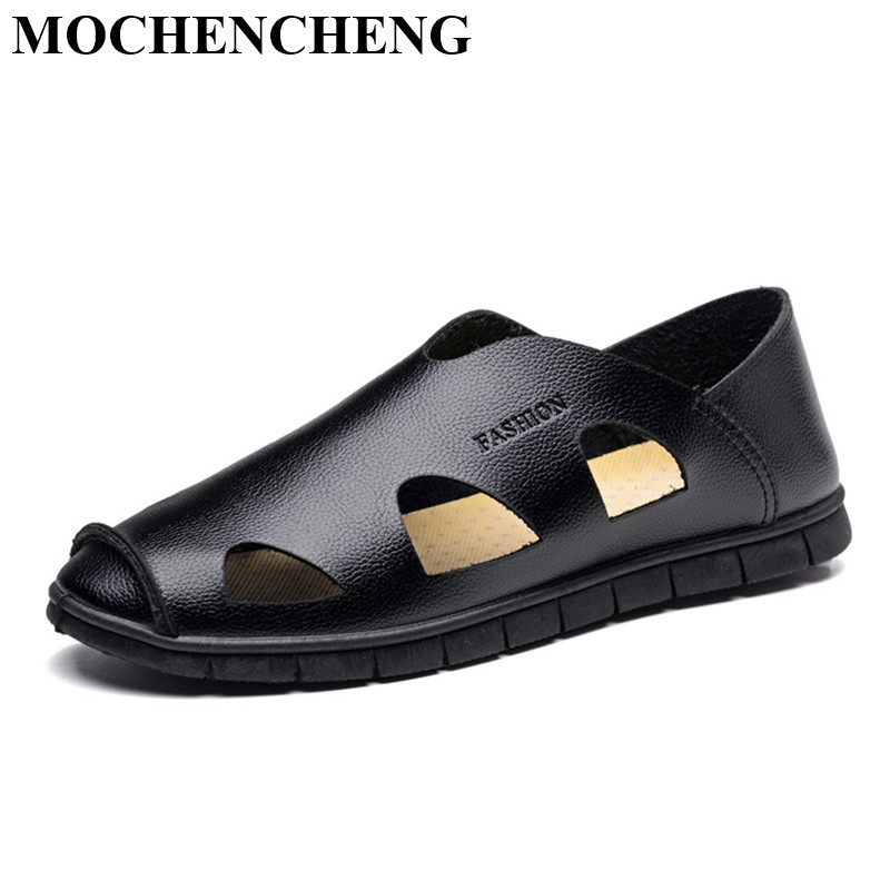 New Summer Men Sandals Genuine Leather Breatable England Slip-on Casual Shoes Solid Outdoor Beach High Quality Leisure Shoes