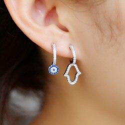 2021 Unique design turkish evil eye hamsa hand Stud Earring pave thiy CZ lucky eye cute Girl women danity earrings Fashion Jewel